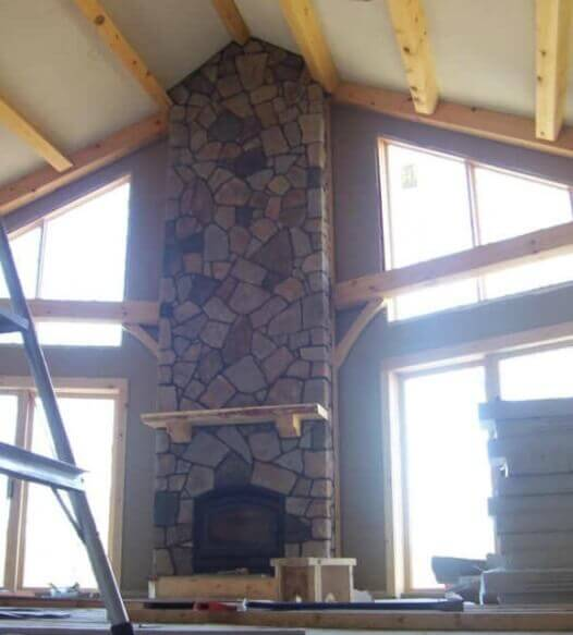 Large Cultured Stone Fireplace