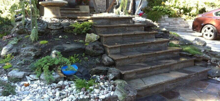 flagstone steps wet laid