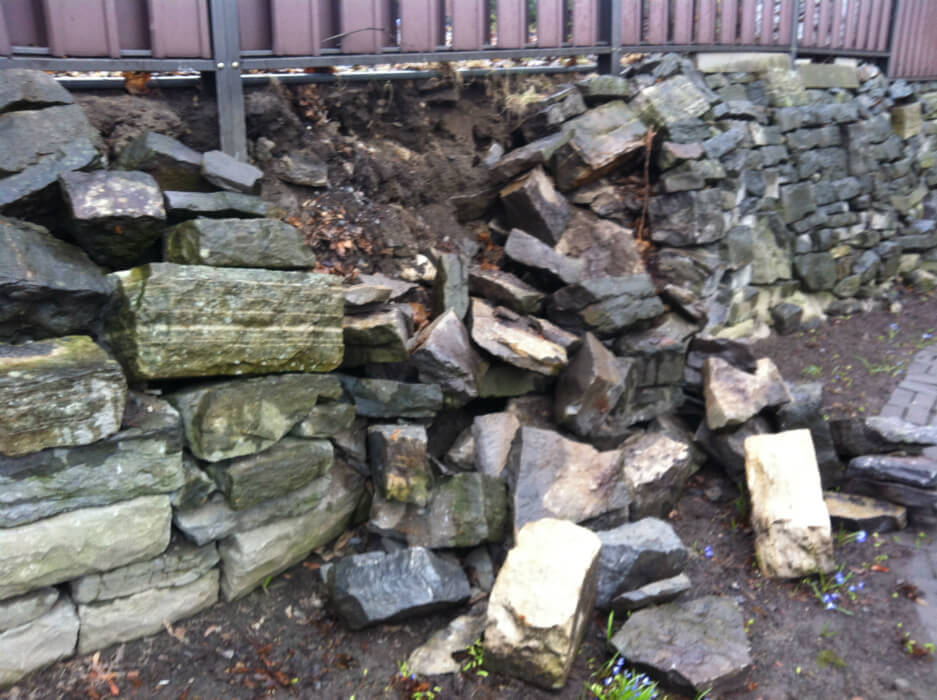 collapsed retaining wall