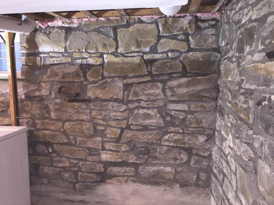 Stone Foundation After Being Repointed